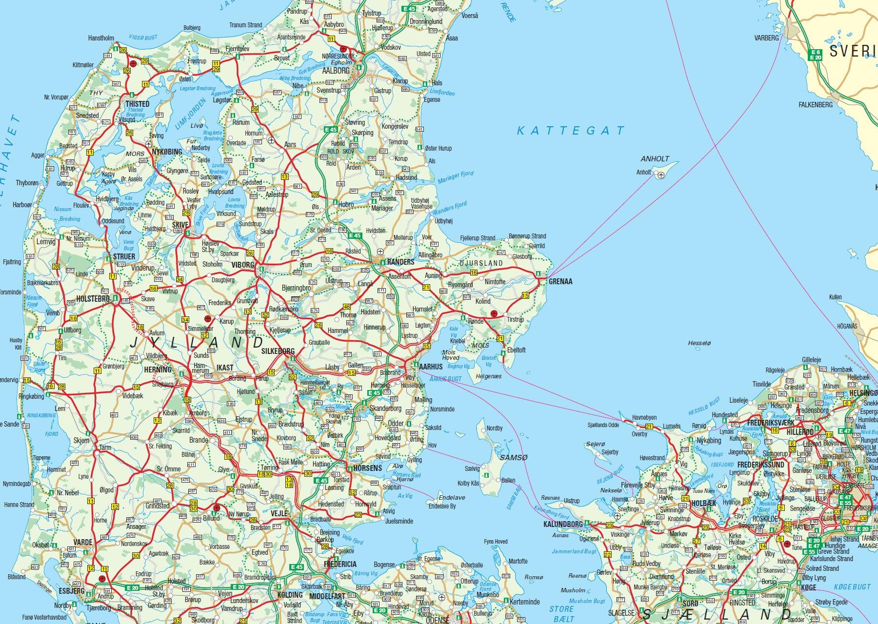 Multimaps Danmarkskort